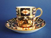 Royal Crown Derby 'Traditional Imari' Pattern 2451 Coffee Can and Saucer c1922